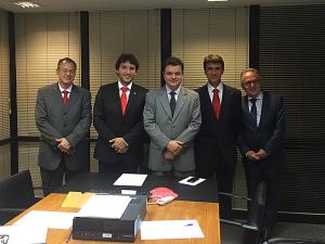 Geraldo Ferreira (Promotor), Iran Barbosa (Deputado), Odair Cunha (Secretário de Governo), Pedro Vaquer (Presidente Solatio Brasil) e Leo Silveira (Prefeito de Pirapora/MG)